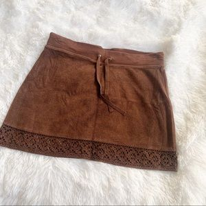 GAP Body Brown Velour Skirt w/ Lace Bottom -Small